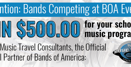BOA Bands Can Win $500 with Music Travel Consultants