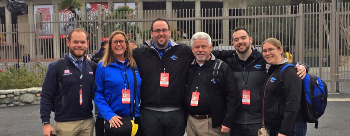 Nancy with Music Travel team (Andrew Moran, Michael Gray, Chuck Kubly, Chris Forsythe and Vicky Wielosinski) during Tournament of Roses trip.