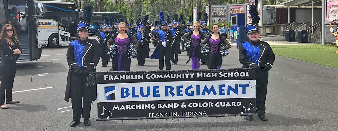 The Franklin Community Blue Regiment Marching Band prepping for showtime!
