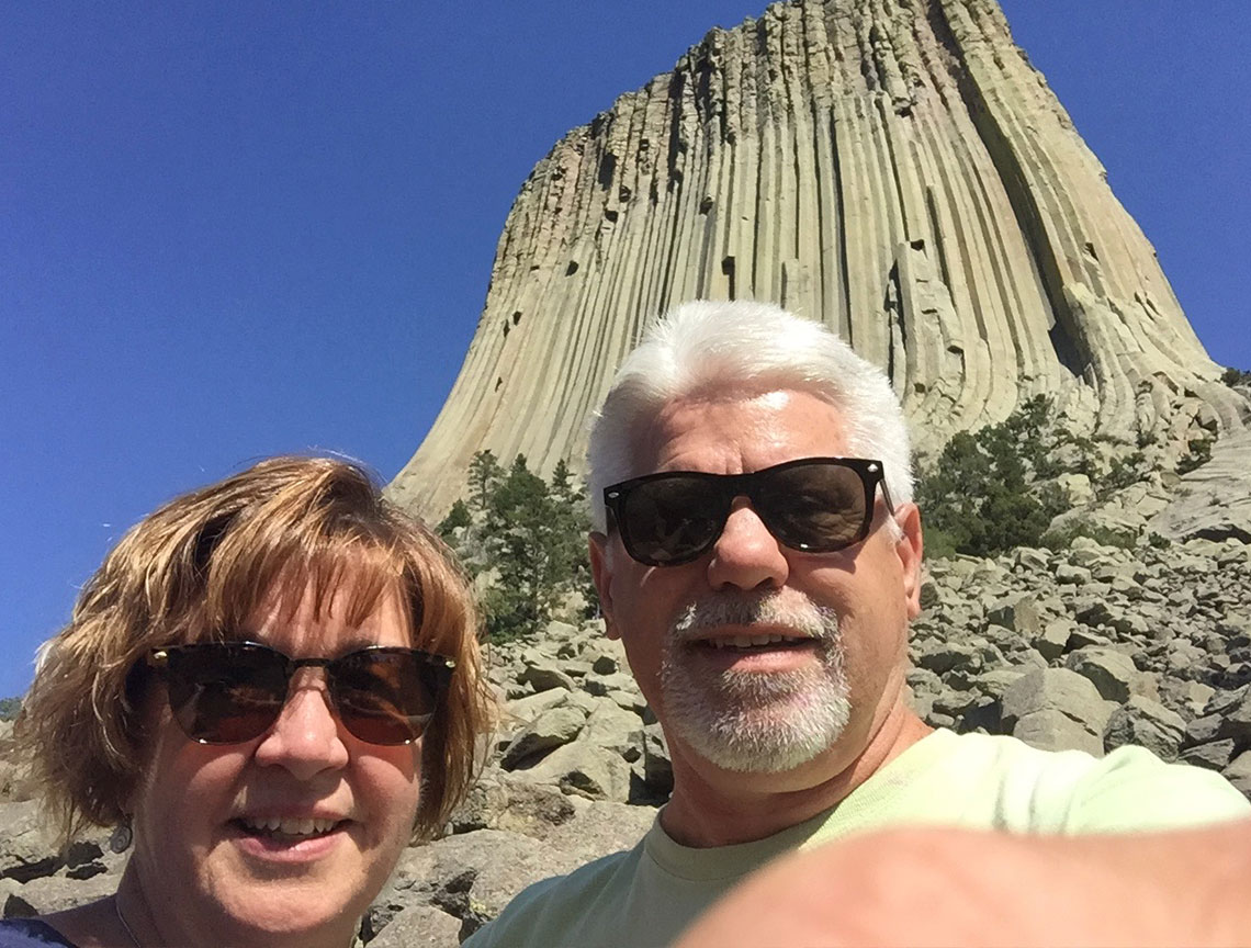 Chuck & Sandy Kubly visiting Devil's Tower in Wyoming.