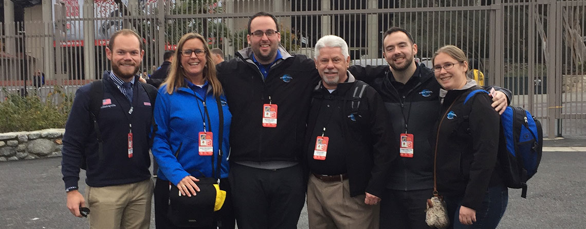 The Music Travel Team at the Rose Bowl. L to R Andrew Moran, Nancy Reichmann, Michael Gray, Chuck Kubly, Chris Forsythe and Vice Wielosinski