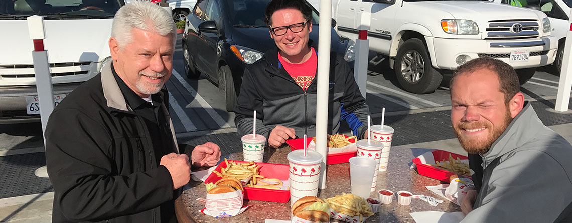 """Chuck Kubly, Ryan Morris & Andrew Moran eating lunch at """"In & Out Burger"""" after a successful Bands of America Honor Band trip to the Tournament of Roses Parade."""