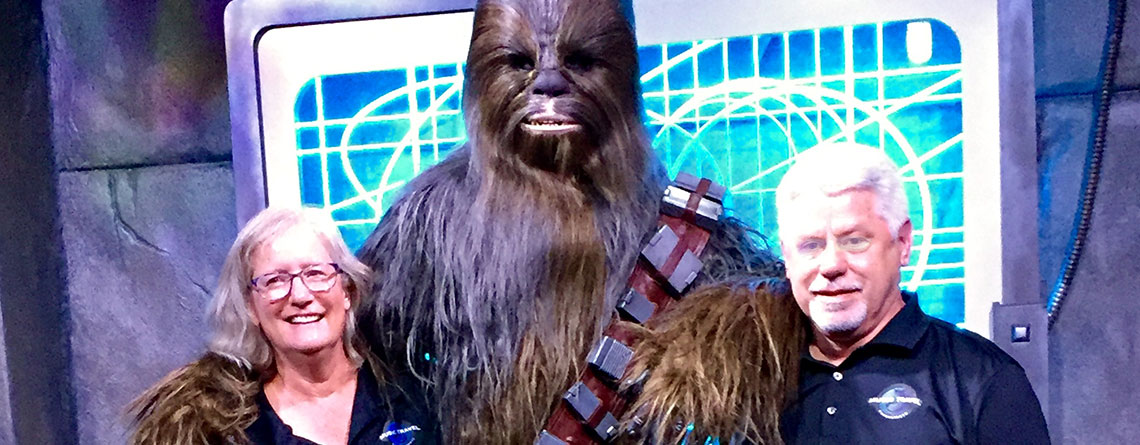 Sue Guindon & Chuck Kubly having a photo op with Chewbacca at Disney's Hollywood