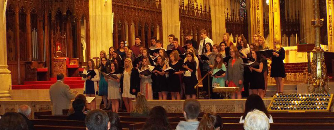 the Bismarck High School Choir performing at the St. Patrick's Cathedral.
