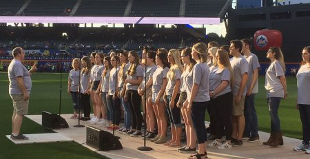 The Bismarck High School Choir performing the National Anthem during the New York Mets Game versus the Milwaukee Brewers.