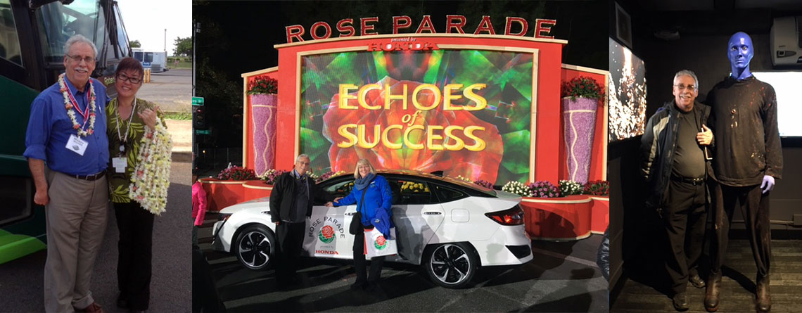 Marty in Hawaii as a Tour Director, Marty at The Tournament of Roses Parade, and Marty with one of the members of the Blue Man Group.