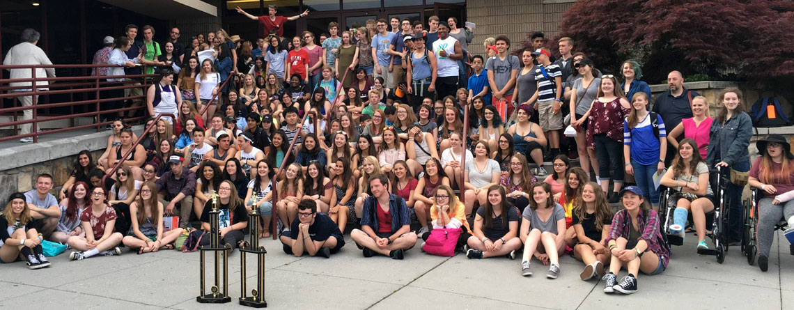 Brecksville-Broadview Heights Choir and Orchestra students after their award winning performances at the Great Smoky Mountains Music Festival in Gatlinburg, Tennessee.