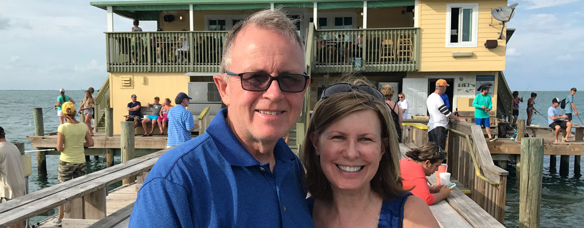 Steve enjoying the warm Gulf breeze with his wife, Diane, at the Rod and Reel Pier and Restaurant near Bradenton, Florida.
