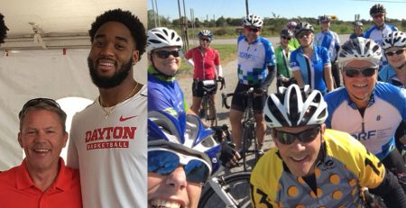 Paul Labbe with a couple of the Dayton Flyers men's basketball players (left), and Paul with the JDRF Southwest Ohio bike team which raises funds for T1D (right).