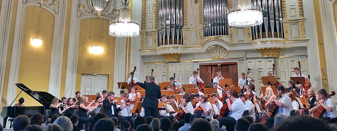 Avon Orchestra performing in the Mozarteum at the 2018 Salzburg International Festival of Music.