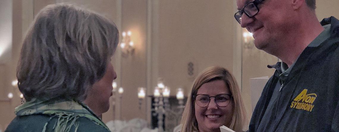 Avon Orchestra's Maestro Dean Westman meeting with Elizabeth Von Trapp.