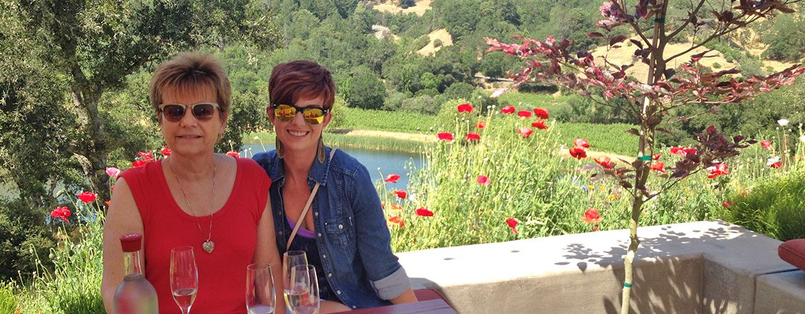 Paige Carter and her mom in Sonoma, CA at the Fritz Winery.