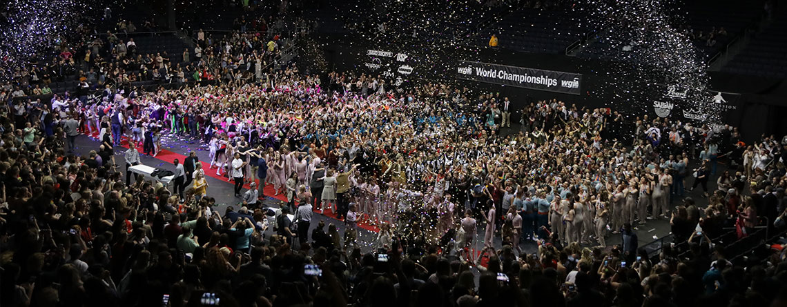 Celebration after the 2018 WGI Percussion World Championships.