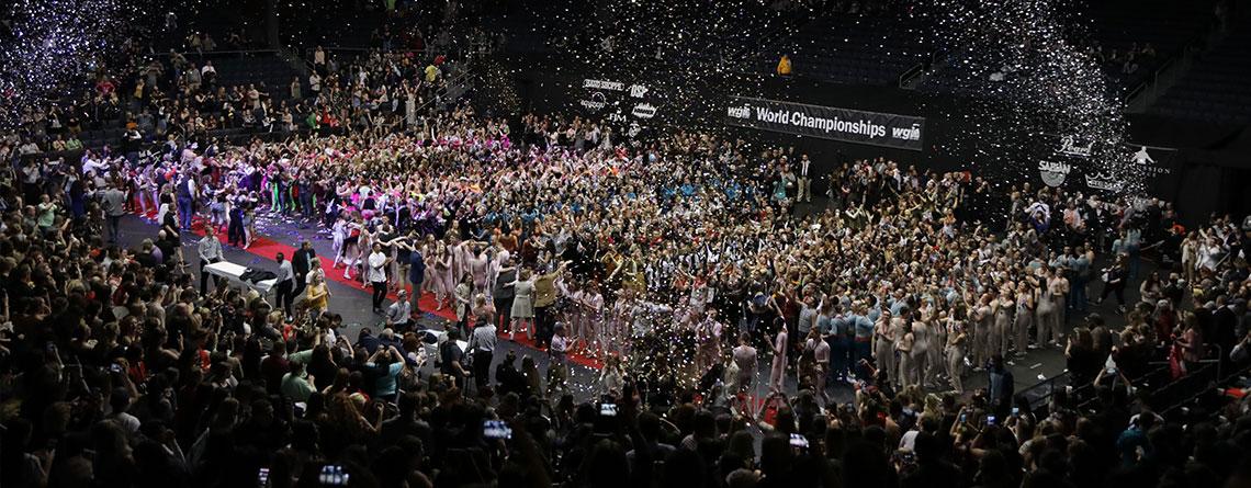 Celebration after the 2018 WGI Percussion World Championships.