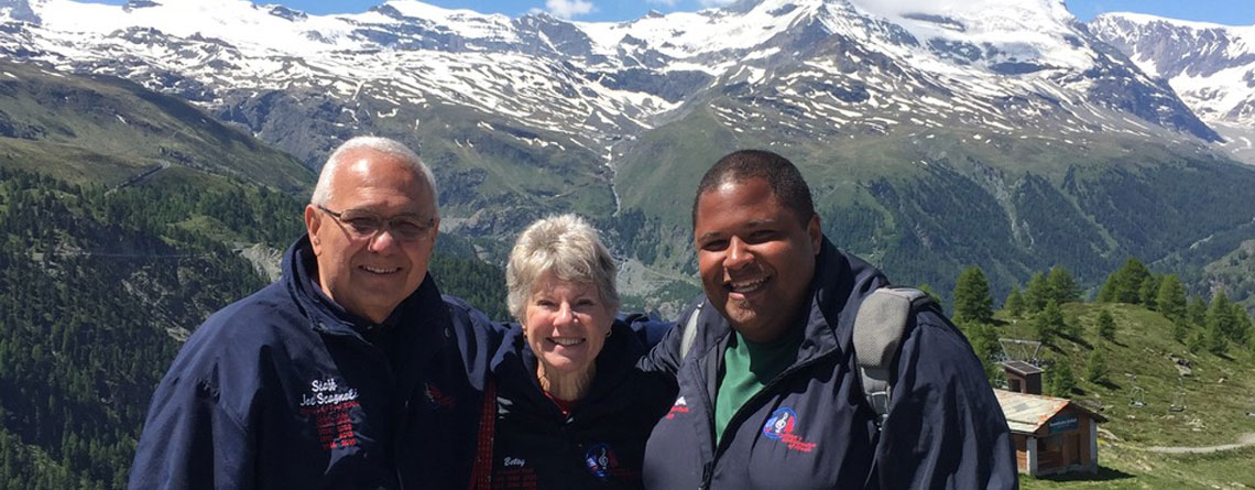 Chris on a Matterhorn trip with Indiana Ambassadors to Europe: Joe and Betsy Scagnoli.