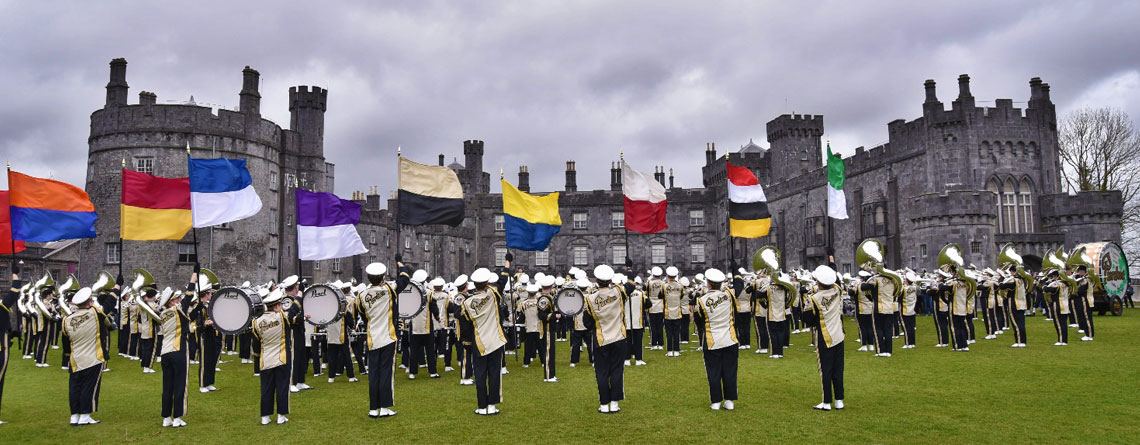 "The Purdue ""All-American"" Marching Band performing at the Kilkenny Castle."
