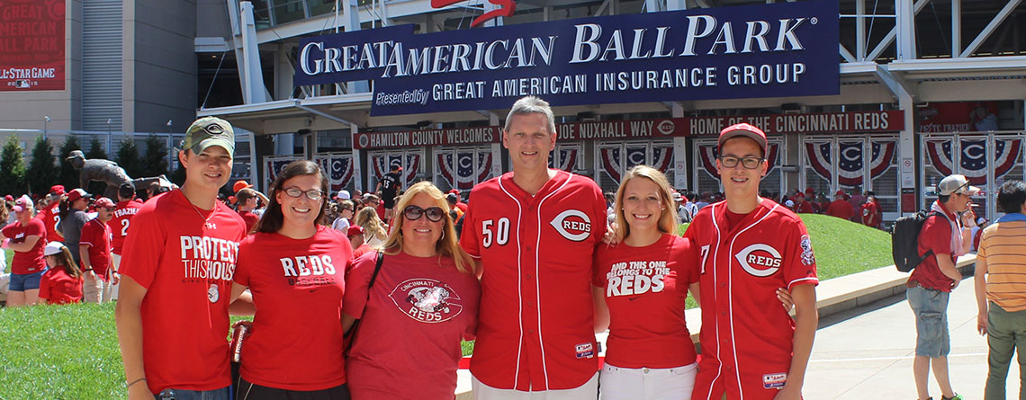 The Moore Family, avid Cincinnati Reds Season Ticket Members, enjoys a game at Great American Ball Park.