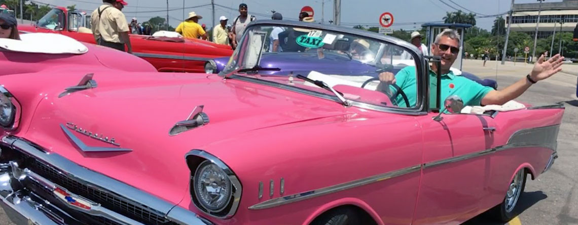 Greg sitting in his ride - a 1957 Chevy convertible - ready for a tour of historic Havana, Cuba.