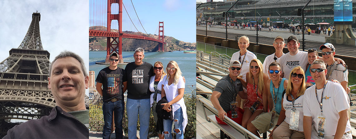 Photo on Left: Greg taking in a view from below at Paris' most famous landmark, La tour Eiffel (Eiffel Tower).  Center Photo: Greg & Kelly, along with two of their children, Andrew & Alexandra, get ready to stroll along San Francisco's iconic Golden Gate Bridge. Photo on Right: The Moore Family attends the (100th) Running of the Indianapolis 500 - a longtime annual tradition.