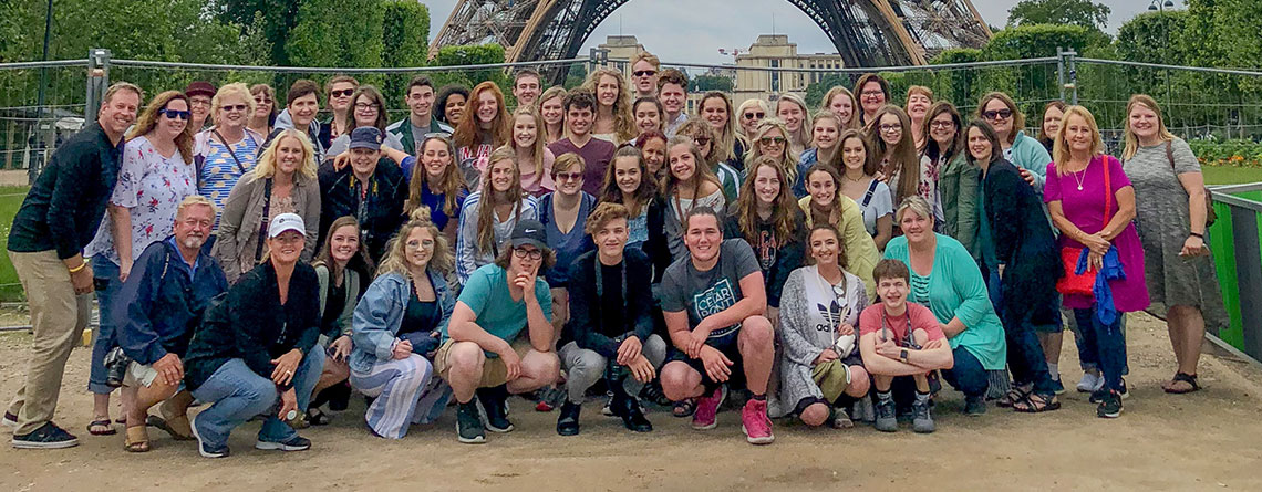 The Pendleton Heights Choir in front of the Eiffel Tower.