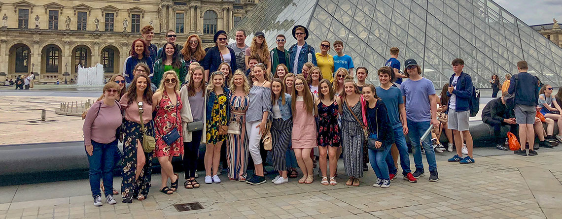 The Pendleton Heights Choir Performing at the Louvre Museum.