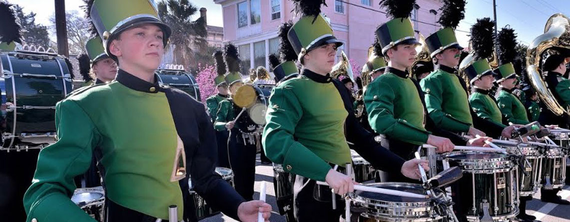 One of the many bands performing in the Saint Patrick's Day Parade Grand Marshal.