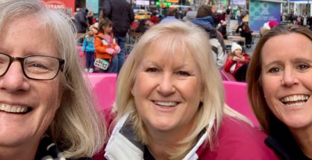 Sue Guindon, Pam Britton, and Nancy Reichmann in Time Square.