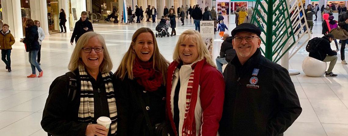 Sue Guindon, Nancy Reichmann, Pam Britton, and Mark Ferrell inside Oculus in New York City.