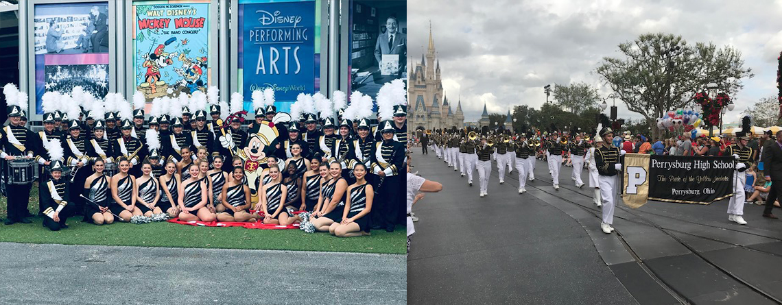 Dan loves taking performance groups to Walt Disney World. A couple of his favorite groups were with Lebanon High School (on left) and Perrysburg High School (on left).