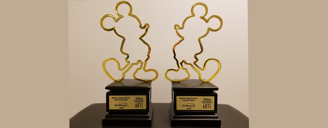 Disney Performing Arts awards for the Sidney High School Concert Band and Jazz Ensembles.