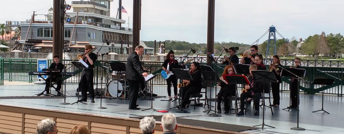The Sidney High School Jazz Ensemble jams for an appreciative audience at Disney Springs.