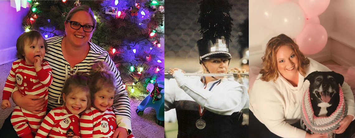 Amber at Christmas with her nieces and nephew (left), after a BOA regional win in 1999 with the Center Grove Trojan Band (center), and with her beloved dog, Chloe (right).