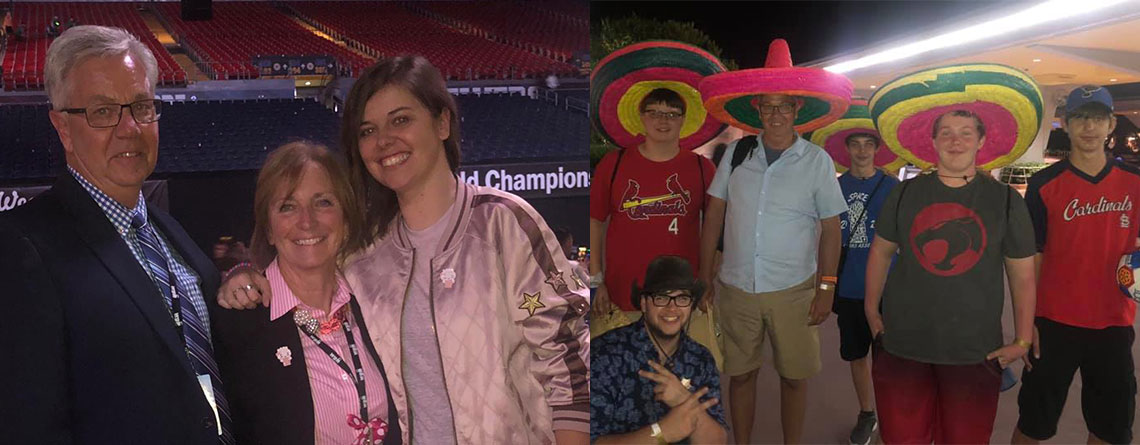 """Left: Bob, Ruth Ann, and Whitney on the floor at World Class Finals at WGI Championships this past April. Right: A gift """"the pink sombrero"""" from a group of students (from Granite City HS) Bob had on a trip to Epcot this past April."""