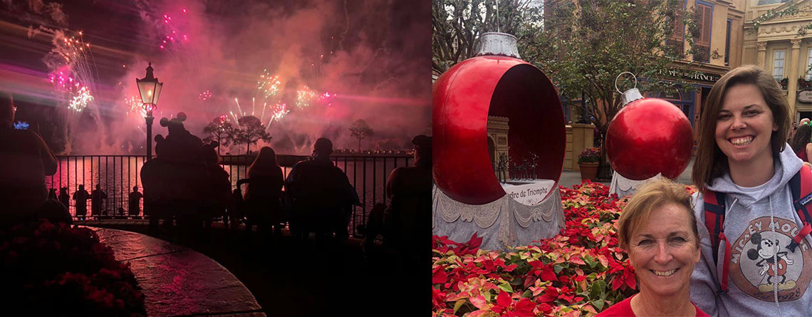 Left: Perry Meridian Band and Orchestra enjoying the Illuminations dinner by the water Fireworks show at Epcot this past March. Right: Bob's wife (Ruth Ann) and daughter (Whitney) at Epcot during Christmas Season.