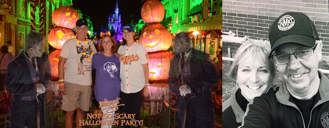 """Left: Bob and family at Mickey's """"Not so Scary"""" Halloween party this past September. Right: Bob and Ruth Ann at warm up at the Avon Marching Band Contest in 2017."""