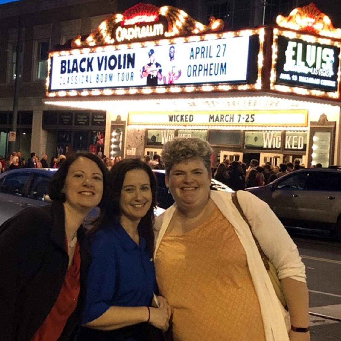 Michelle, Nicole Cramer & Mary White, directors of Eureka HS Orchestra after attending Wicked the Musical in Memphis.