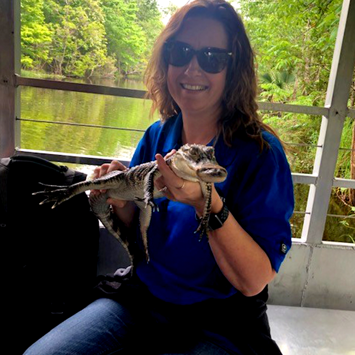 Michelle and new friend Bruce on the Cajun Pride Swamp Tour with Eureka High School.