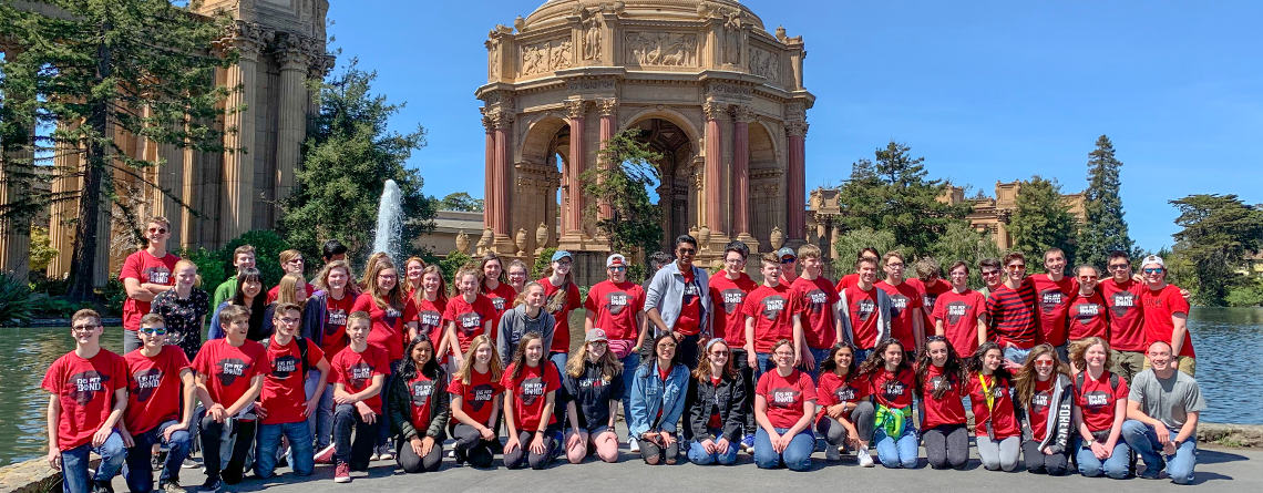 Eastlake H.S. Band at the Palace of Fine Arts, built for the 1915 Panama-Pacific Exposition.
