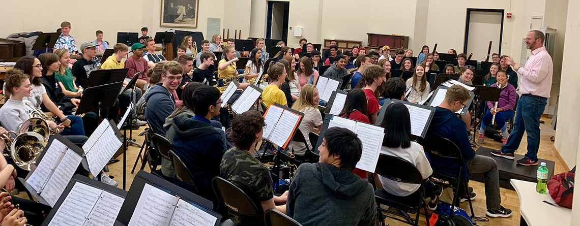 Dr. Gavin kept the band engaged during its clinic at Stanford!