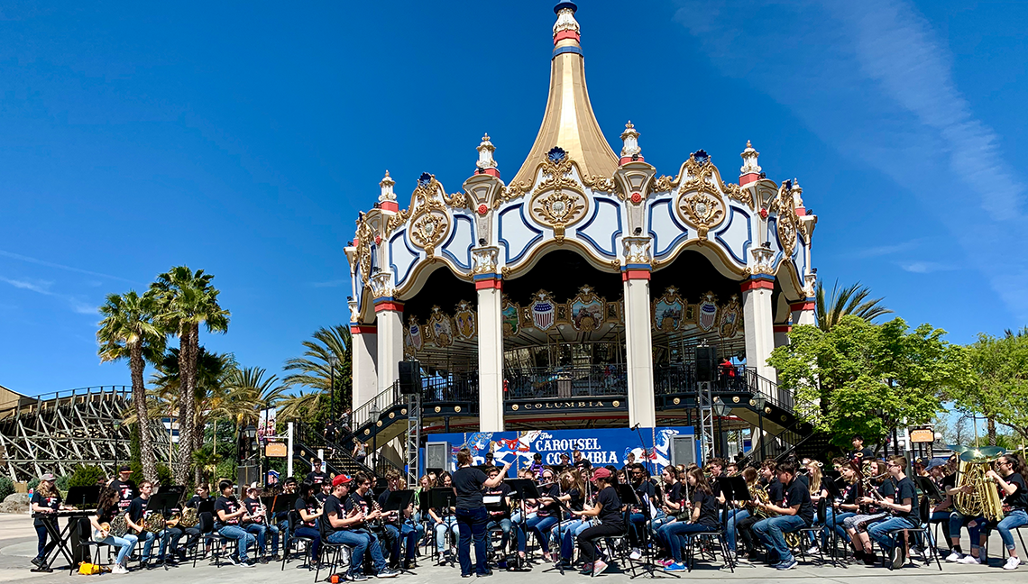 "Eastlake High School Band's ""Performance on The Plaza"" in front of the amazing, two-story, ""Carousel Columbia"" at Great America Park."