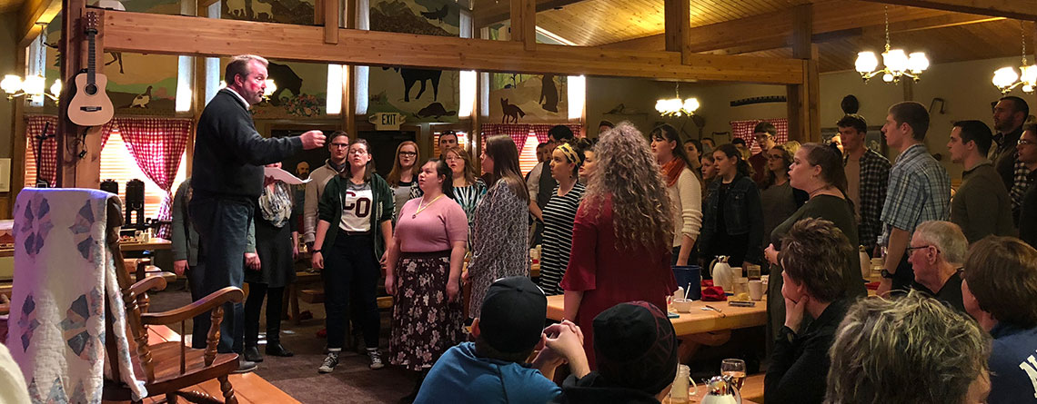 The College of the Ozarks Choir at the Alaska Cabin Nite Dinner Theatre.