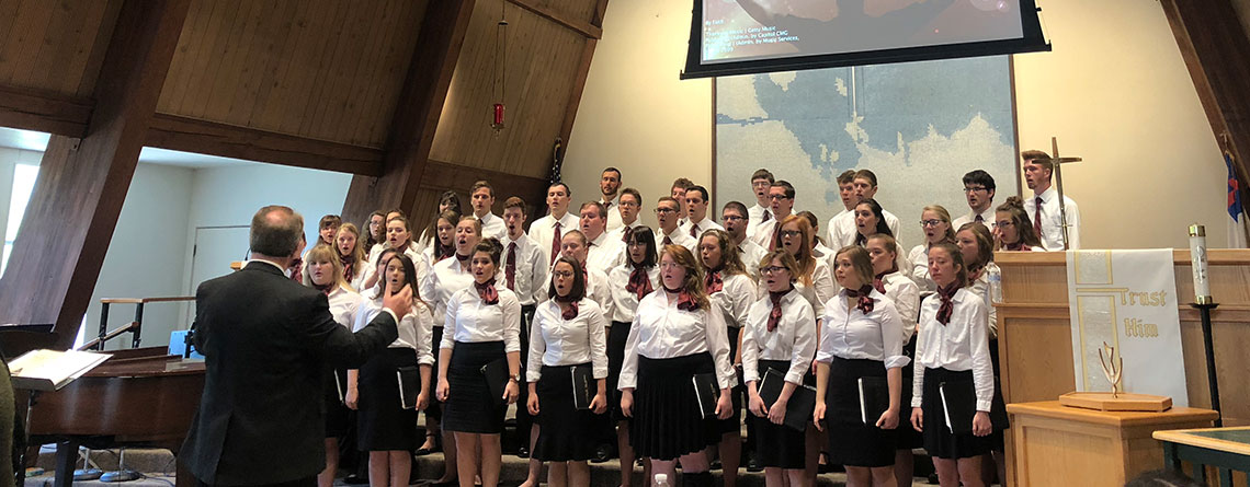The choir performing at a morning worship at Anchorage Lutheran Church.