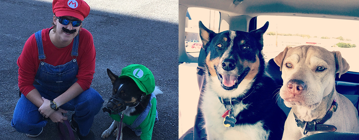 Left: Alyson and Dakota at Halloween as Mario & Luigi. Right: Alyson's best buddies, Dakota and Penny.