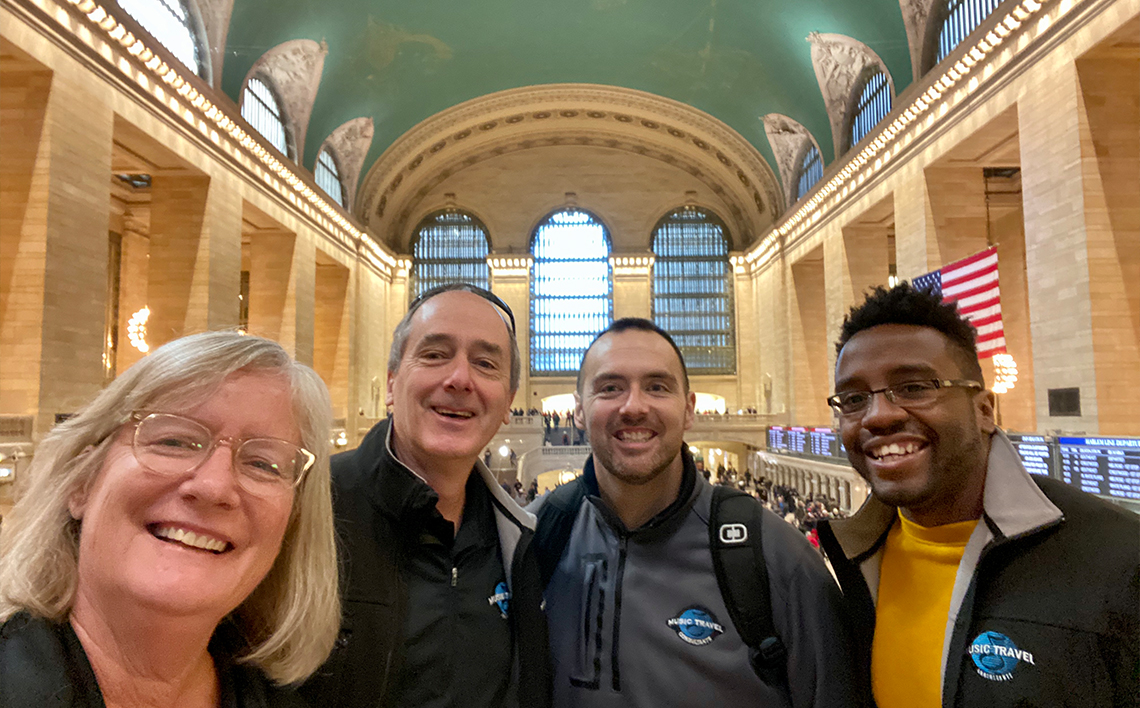 From left to right: MTC Tour Directors Sue Guindon, Tom Young, Chris Forsythe, and Keiron Miles at Grand Central Terminal in Midtown Manhattan, New York City.
