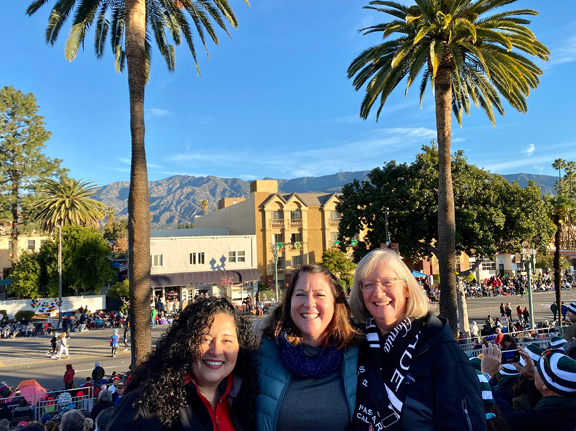 From left to right: MTC Tour Directors Sylvia Duplantier, Susie Bolla, and Sue Guindon at the Pasadena Tournament of Roses Parade.