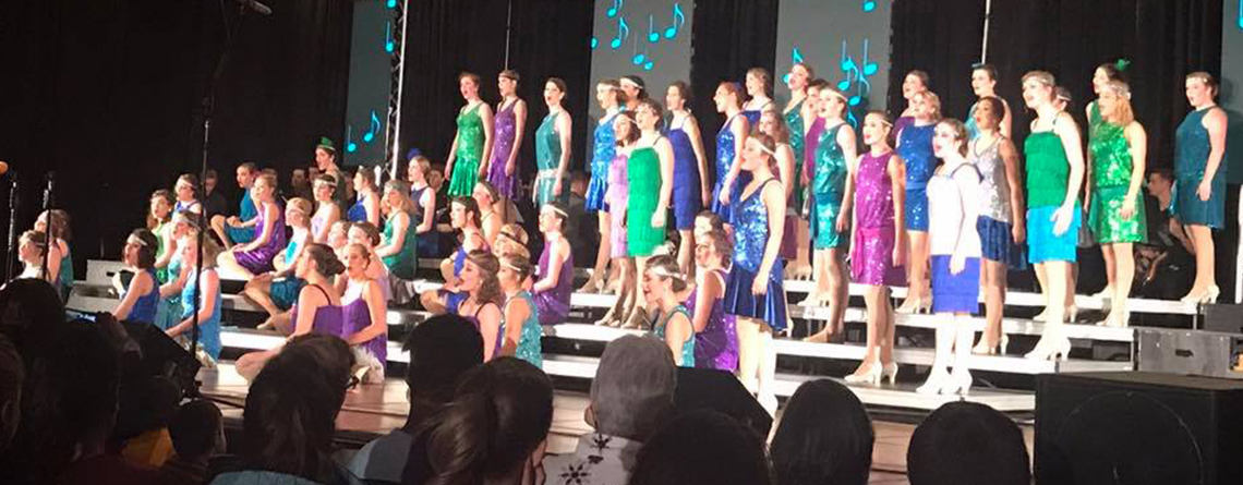 The Choralaires from Zionsville HS (IN) sing their ballad at the Heart of America Show Choir Competition in Kansas City, MO.