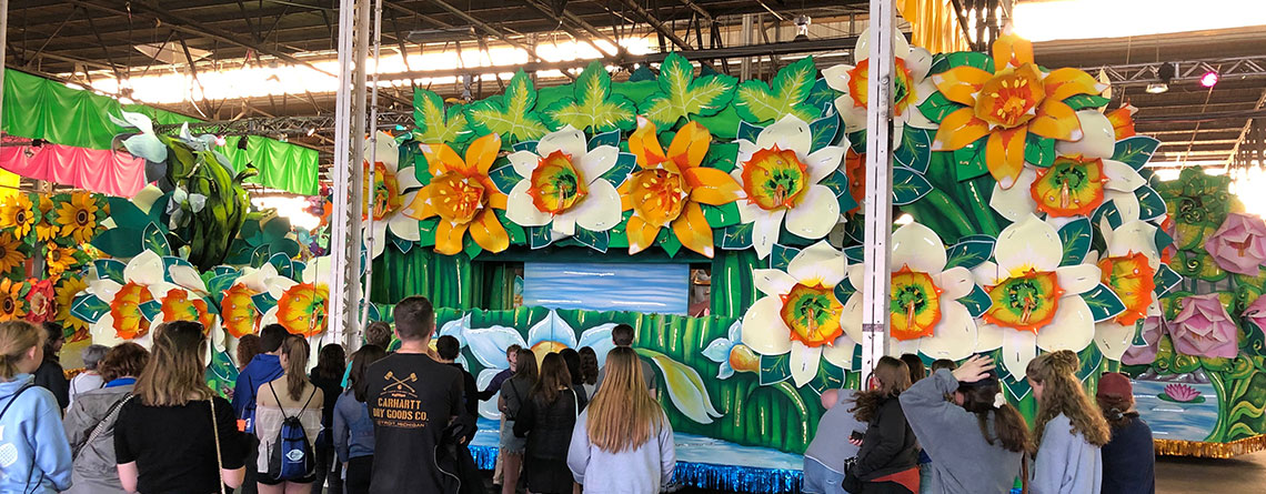 EHS students marvel at the artistry of the floats created at Mardi Gras World.