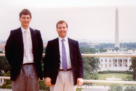 1994 Greg, along with lifelong friend and fellow GABT Tour Director, Cory O'Dell, take in the view of the White House from the roof of the nearby Hay Adams Hotel.