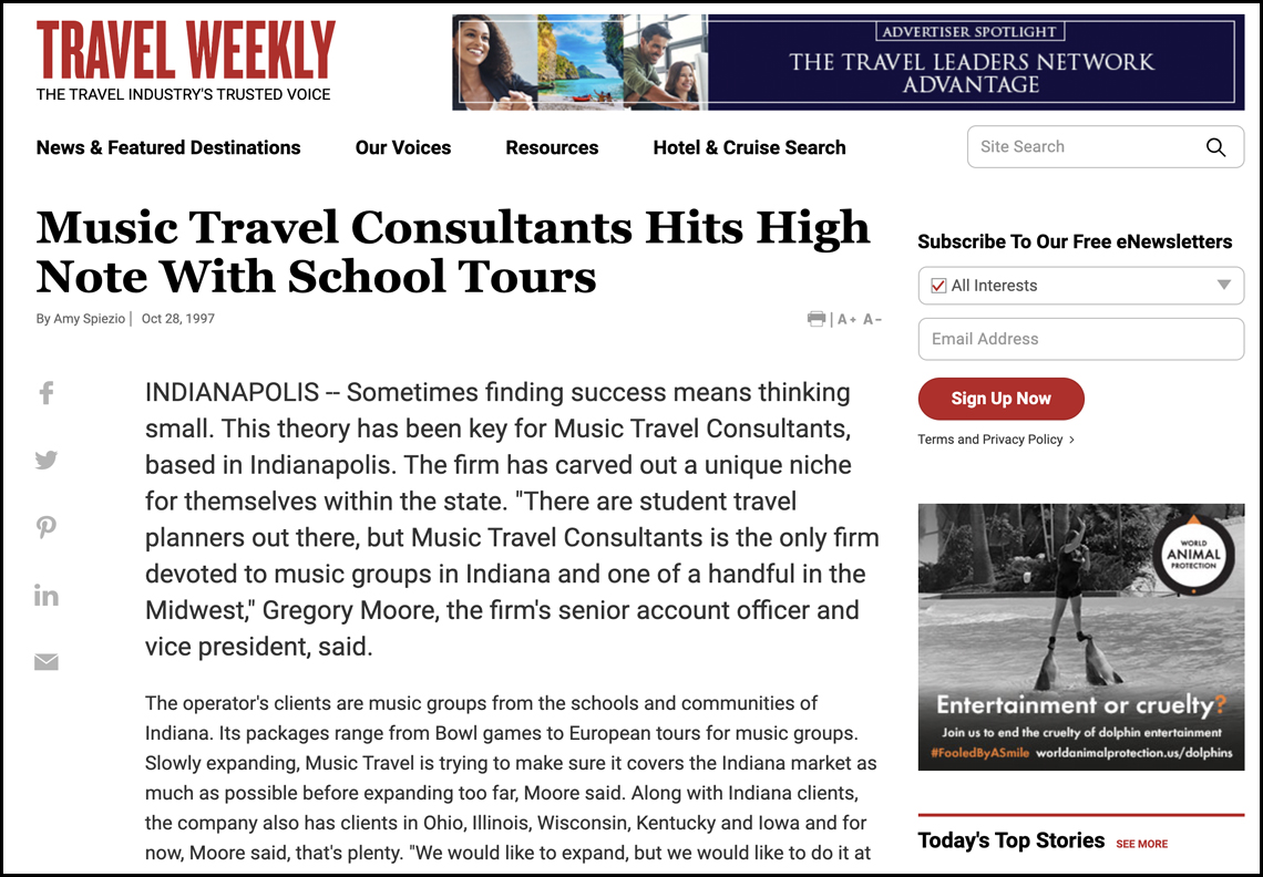 Music Travel Consultants Hits High Note With School Tours (Travel Weekly did an interview with Greg).