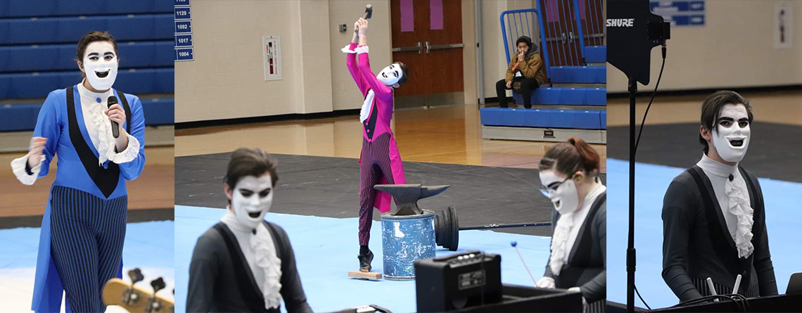 Members of Triton Central Indoor Percussion take the spotlight during an IPA contest. Several jokes and comedic moments supported the theme.